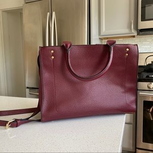 Red/Maroon Handbag Faux Leather